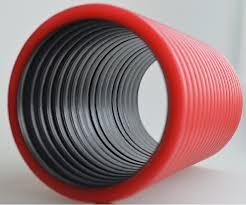 Труба двухстенная гибкая, с протяж.ПНД 110 красная